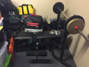 Exercise Workout Bench+Barbell+Curling Bar+Over 250lbs of Weight