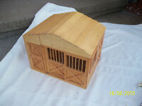 Handcrafted Miniature Wooden Barn with Farm Animals