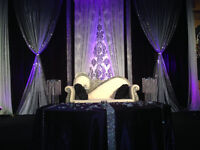 WEDDING LOVESEAT, BRIDE AND GROOM CHAIRS FOR RENTAL