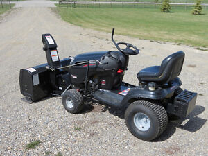 Mower Tractor ride-on with snow blower, trailer and weights.