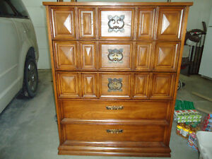 5 Drawer wood dresser and 2 drawer nightstand