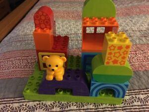 Block with teddy bear