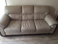 Cream and brown genuine leather 3 +2 seater sofas and footstool from dfs