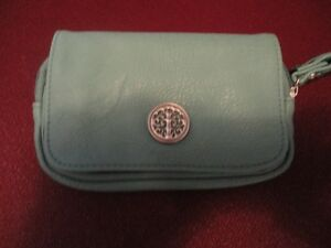 Small Turquoise Clutch with Emblem