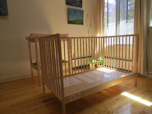 Beautiful Crib and changing table with Fisher price toy