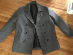 Men's Grey Wool Jacket - Size M