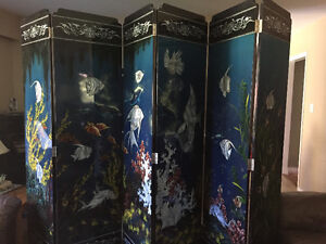 Black lacquer six-panel chinese room divider