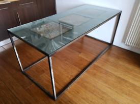 Designer dining table in steel / wood / glass top 6-8 people