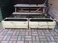 Large solid wood trough planters x2