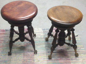 Antique mahogany piano stools