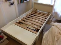 White IKEA solid wooden children's extendable bed