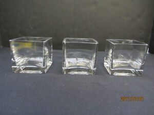 SQUARE GLASS VASES/CANDLE HOLDERS - Set of 3