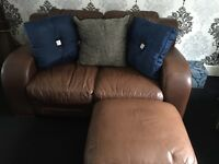Lovely leather 2 seater Sofa & pouffe