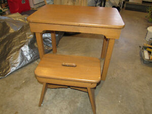 Solid Oak Table and Stool
