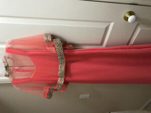 Peach long dress with cape