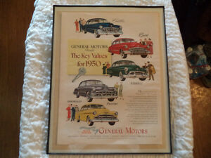 OLD CHEVY CLASSIC CAR FRAMED AD Windsor Region Ontario image 2