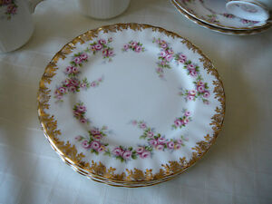 6 Bread and Butter Plates - Dimity Rose by Royal Albert