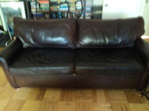 Original thick leather Starbucks couch.