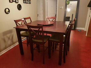 Cherry bistro table with 6 chairs