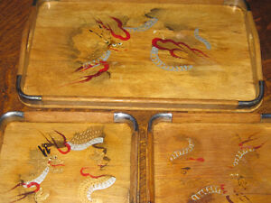 Set 3 Antique Oriental Dragon Hand Painted Wood & Silver Trays