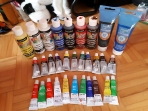 Various acrylic paints and carry bag