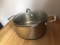 Large copper based saucepan