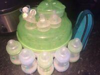 Mam bottles and steriliser set
