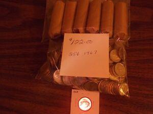 MONNAIE GROS LOT DE 25¢ ET 10¢ 1967 ARGENT......