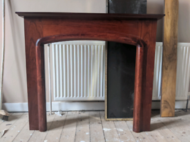 Cherry-red wood effect mantlepiece