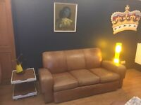 Vintage tan leather French club chair sofa settee studded detail mancave