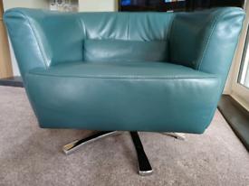 Green leather swivel tub chair