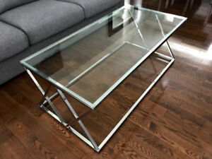 Brand New - Bouclair Tempered Glass Coffee Table with Metal Legs