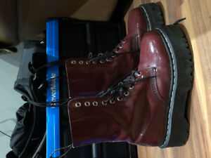 Doc Martens size 6.5 UK cherry red platform boots