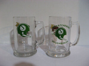 2 VINTAGE SASKATCHEWAN ROUGHRIDERS BEER GLASSES WITH LOGOS
