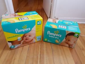 2 Boxes of Pampers Diapers Size 2