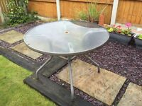 Garden Table, 4 chairs with full cushions and matching parasol