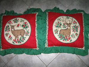 Attractive Pair of Quilted-Topped Cushions With Ruffles