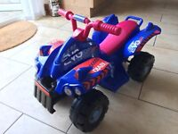 Ride on electric (battery powered) quad bike. Ideal for 2-3 year old child. Toy