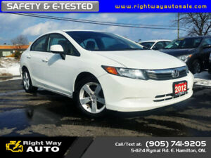2012 Honda Civic LX | LOW KMS | SAFETY & E-TESTED
