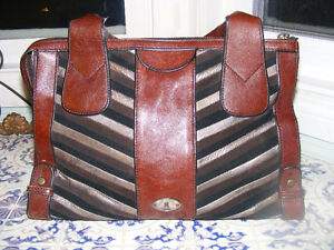 Fossil Leather and Suede Satchel Purse Reduced Price