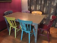 Something Different Shabby Chic Farmhouse table and 6 Chairs