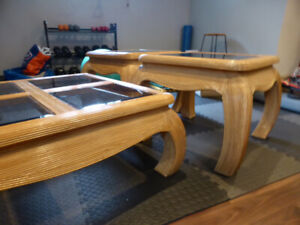 3 Wood Coffee Tables - Glass Top