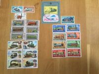 Lot of trains related stamps collection