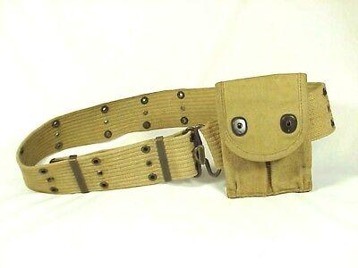 Pistol Belt Large Early Nam Cotton Tite Weave Brass Hardware 1962
