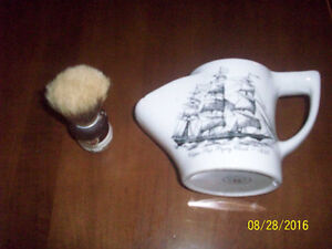 """Very Old Shaving Brush-""""Butterfly""""---comes with old Chipped  Mug"""