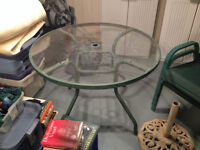 Round Patio Table and Umbrella and 4 chairs