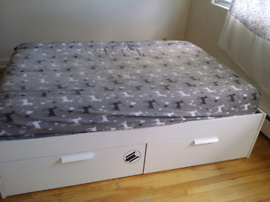 White Ikea bed frame and mattress queen