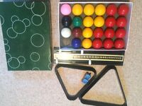 Snooker cues and balls for 6ft table