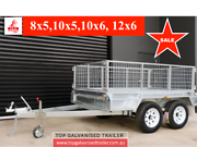 8x5 TANDEM GALVANISED TRAILER FULLY WELDED 600MM CAGE NEW TYRES Kilsyth Yarra Ranges Preview