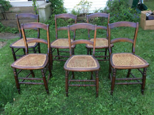 Antique ladder-back chairs with cane seats - matching set of six